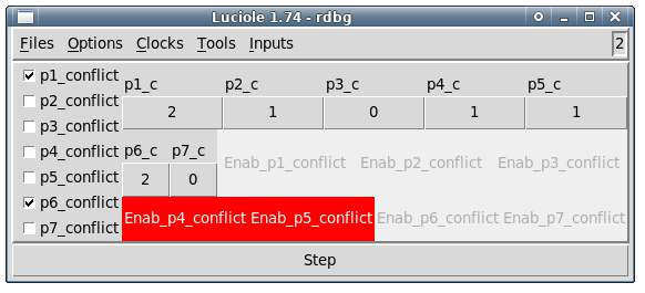 Figure 4: A Luciole Screenshot after a first (real!) step where p1 and p2 were triggered